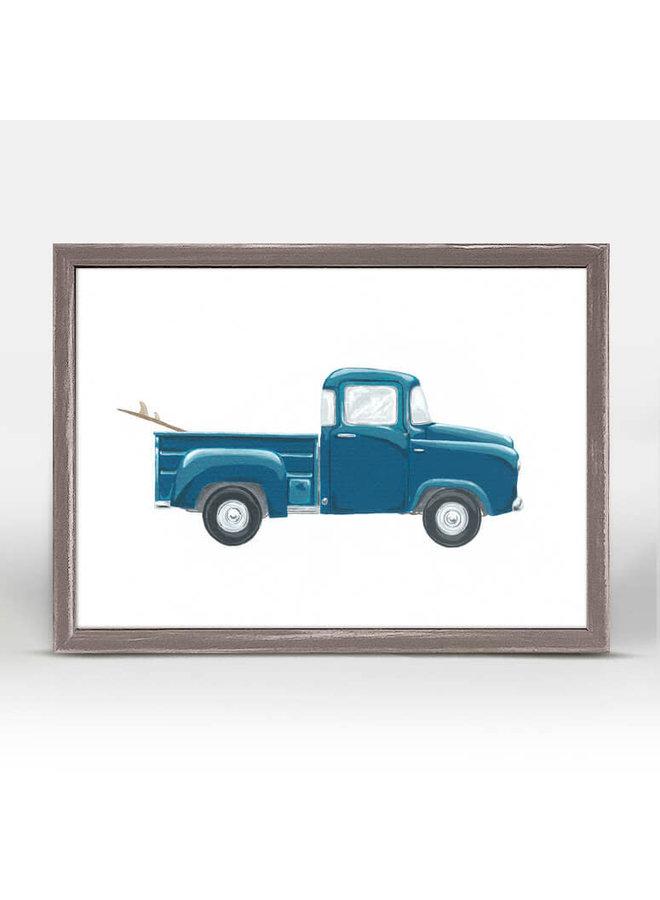 Blue Pickup Truck 7x5 Canvas Wall Art