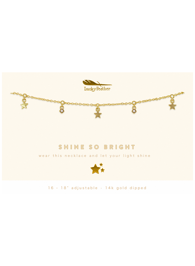 Gold Dangle Stars Necklace - Shine So Bright