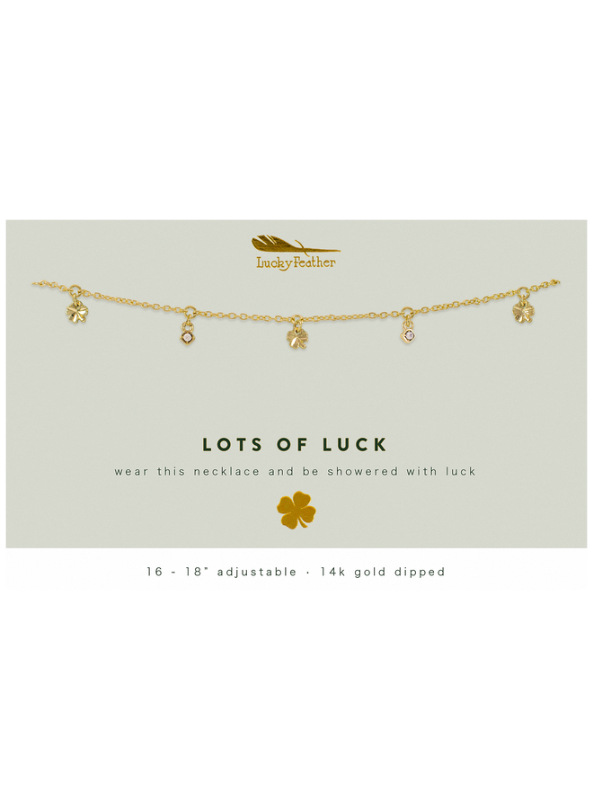 Gold Dangle Clover Necklace - Lots of Luck