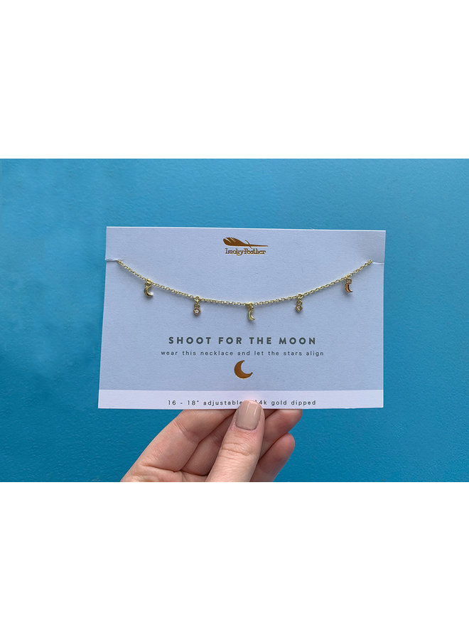 Gold Dangle Moon Necklace - Shoot For The Moon