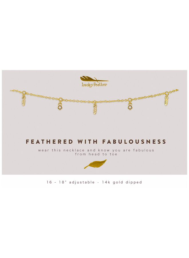 Gold Dangle Feather Necklace - Feathered With Fabulousness