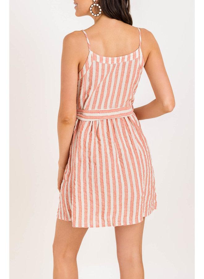 Pink Striped Short Dress w/ Buttons & Waist Tie