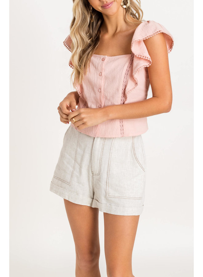 Light Pink Button Tank w/ Lace And Ruffle