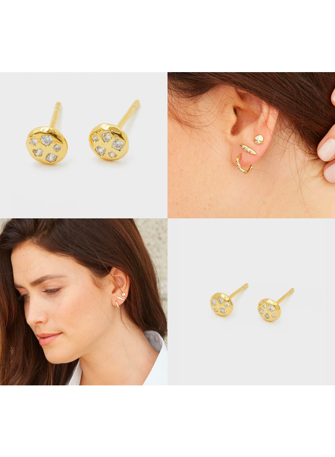 Collette Circle Stud Earrings Gold CZ- by Gorjana