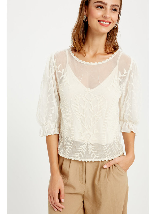 Lacey Peasant Top w/ Inner Tank by Wishlist - Ivory