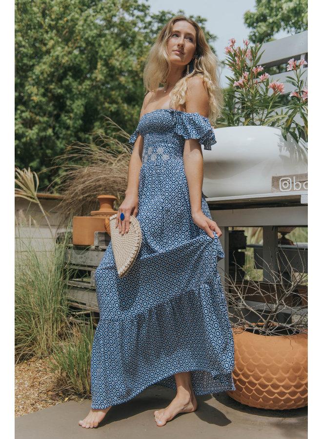 Island Vibe Long Dress w/ Ruffle Sleeves by Skemo - Blue Ikat