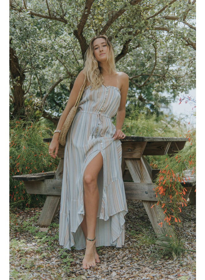 Striped Strapless Dress w/ Buttons & Waist Tie by Elan - Blue/Brown/White