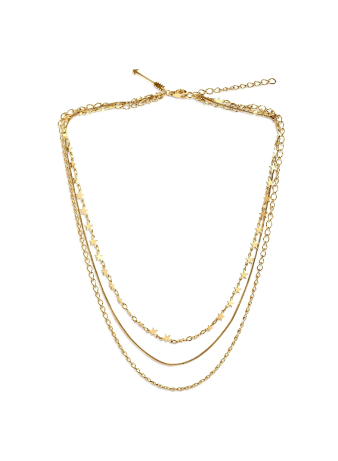 Triple Layer Necklace w/ Stars - Mabel Necklace by Ellie Vail