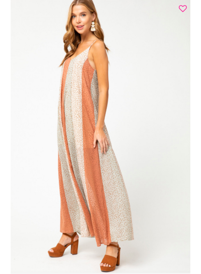 Striped Cheetah Print Maxi Overlay Dress By Entro