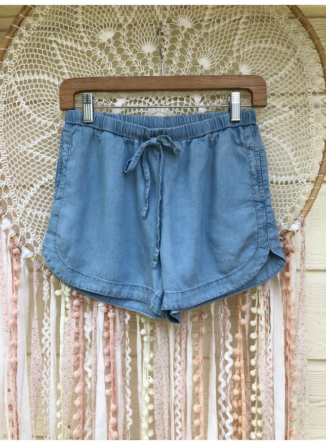 Tencel Drawstring Shorts by Wishlist - Light Denim