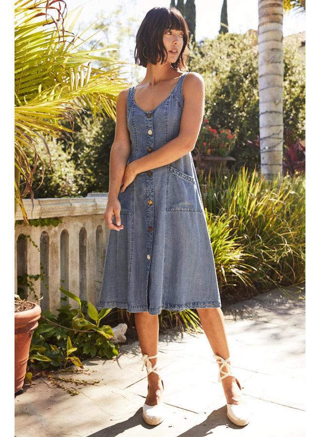 Button Down Denim Midi Dress by Velvet Heart - Arya Malibu