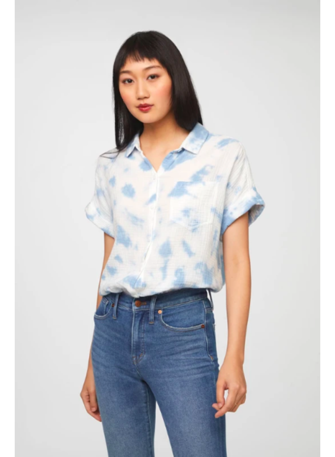 Blue & White Tie Dye Alia Soft Shirt by BeachLunchLounge