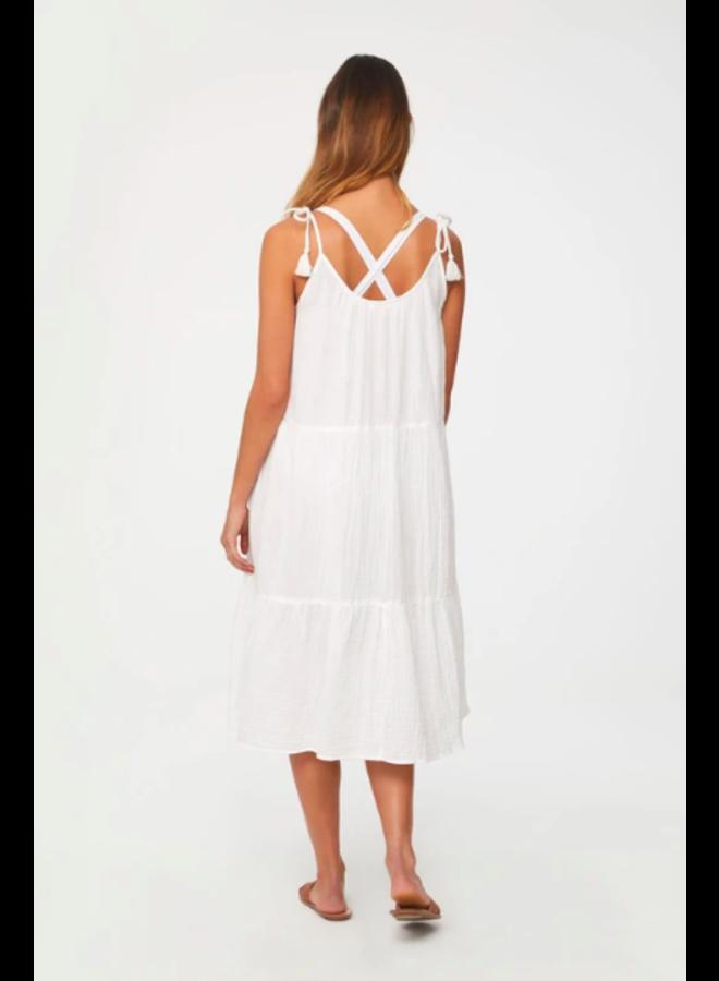 White Gauze Willa Dress w/ Tie Tank Sleeves by BeachLunchLounge