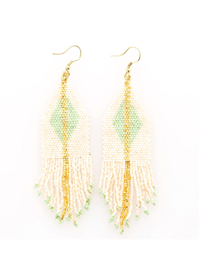 Ivory & Mint With Gold Diamond Fringe Earrings