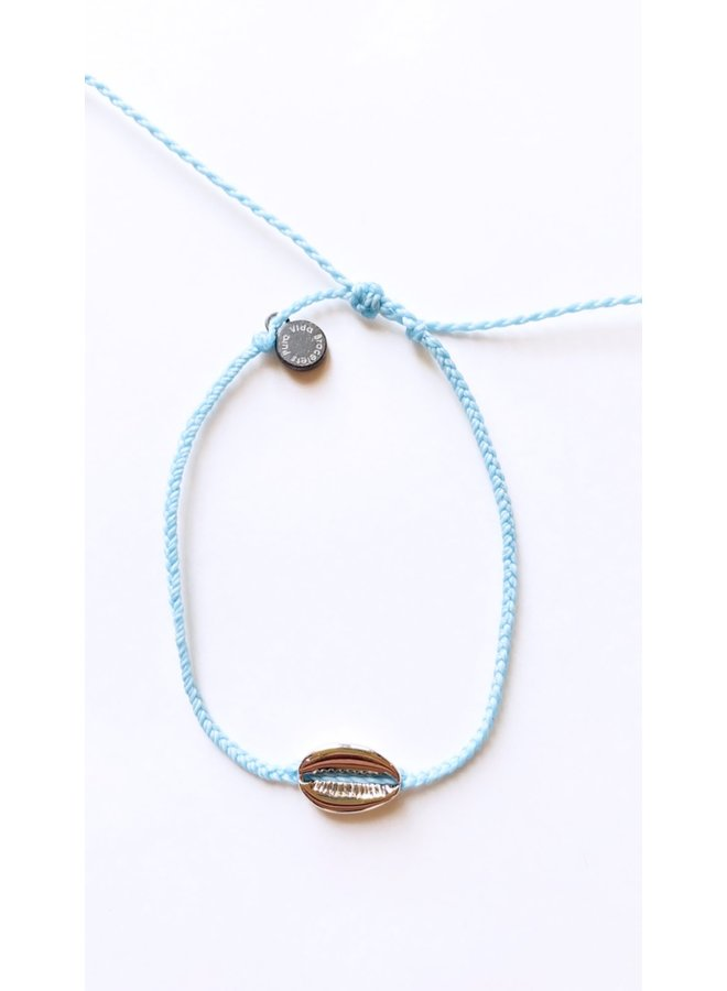 Pura Vida - Silver Cowrie Shell Cord Anklet