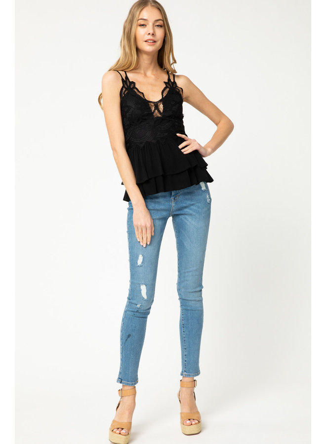 Lacey Smocked Top w/ Ruffle Bottom By Entro - Black