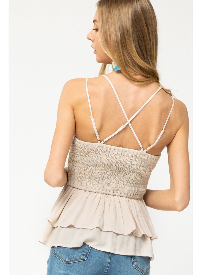 Lacey Smocked Top w/ Ruffle Bottom By Entro - Natural