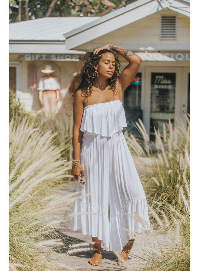 Strapless Gauze Jumpsuit w/ Ruffle Top & Pockets by Elan - White