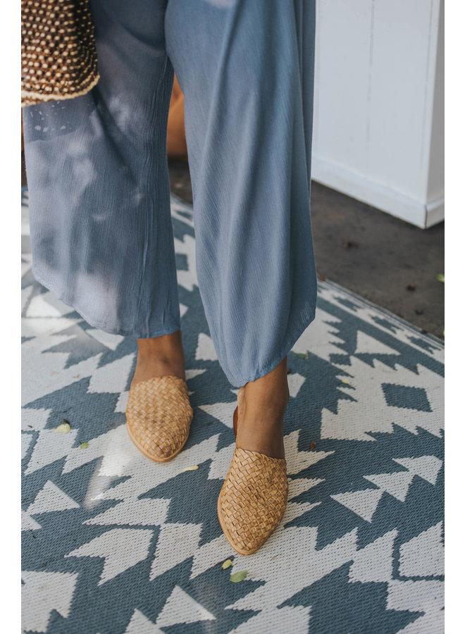 Strapless Gauze Long Jumpsuit w/ Waist Tie & Pockets by Elan - Denim Blue