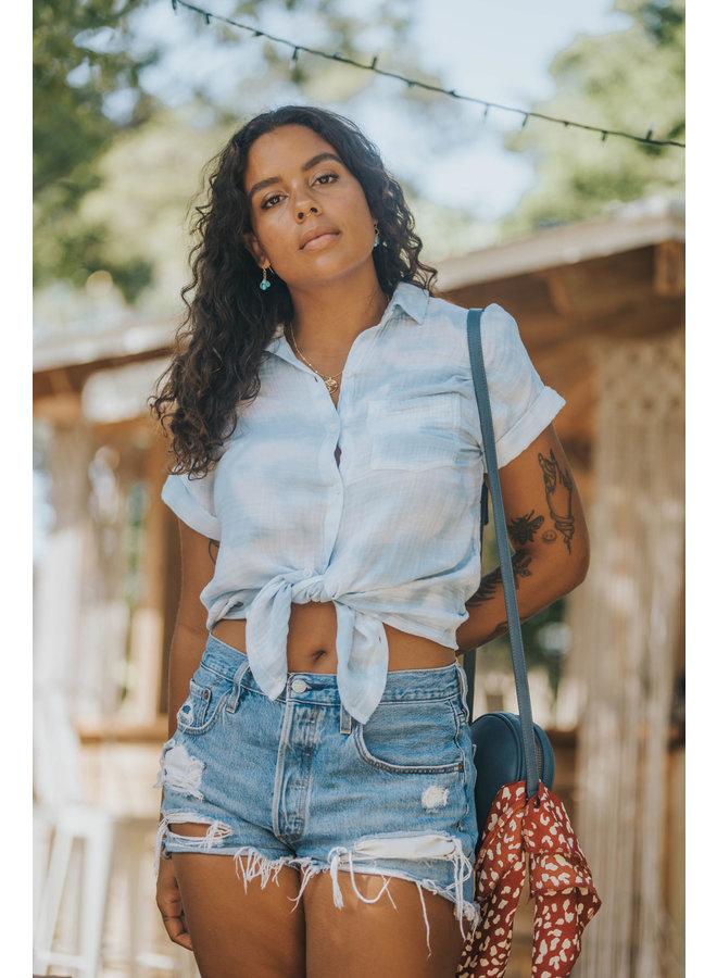 Blue & White Tie Dye Alia Soft Shirt by BeachLunchLounge