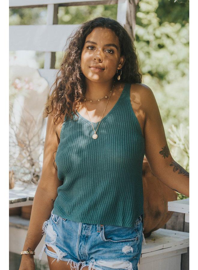 Sweater Knit Tank by Wishlist - Green