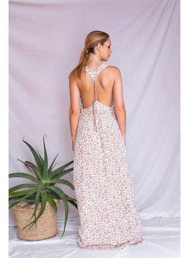 Nomada Flowy Dress w/ Racerback by Saldepipa - Leopard Rose