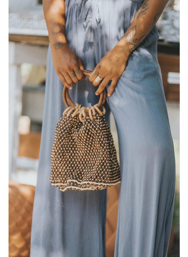 Wood Beaded Mesh Bag w/ Circle Handles