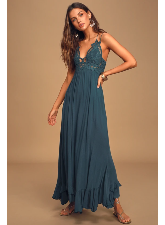 Adella Maxi Slip Dress by Free People - Turquoise