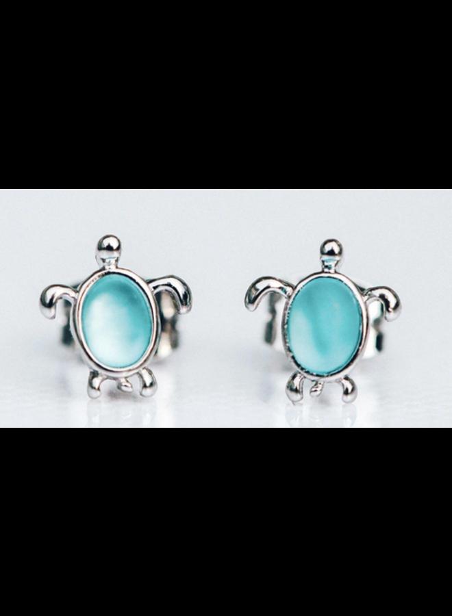 Pura Vida - Sea Turtle Silver Blue Stud Earrings
