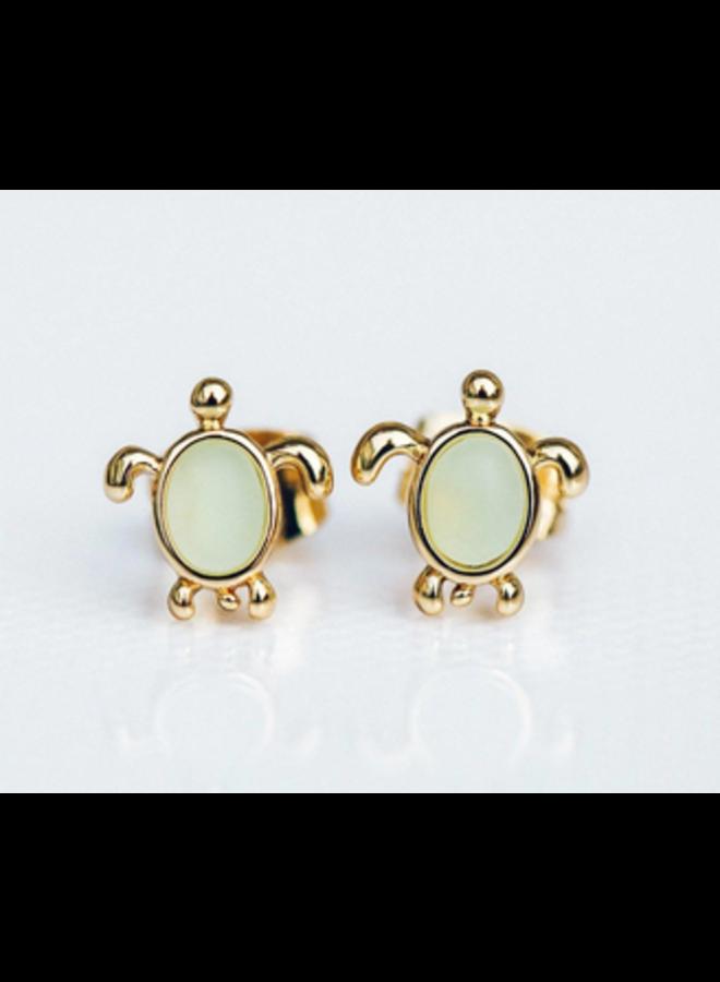 Pura Vida - Sea Turtle Gold Green Stud Earrings