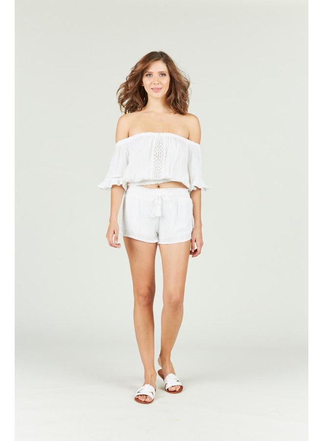 White Shorts w/ Crochet Trim by Ocean Drive - White