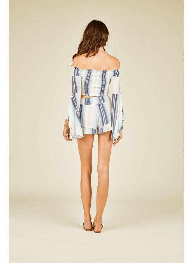 Pastel Stripe Shorts w/ Ruffle by Vintage Havana