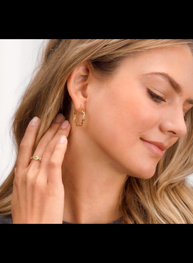 Parker Link Hoop Earrings - Gold - By Gorjana