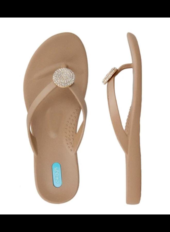 Tan Sandals w/ Rhinestone Circle - Oka B