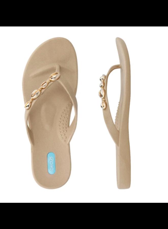 Tan Tucker Sandals w/ Cowrie Shells - Oka B