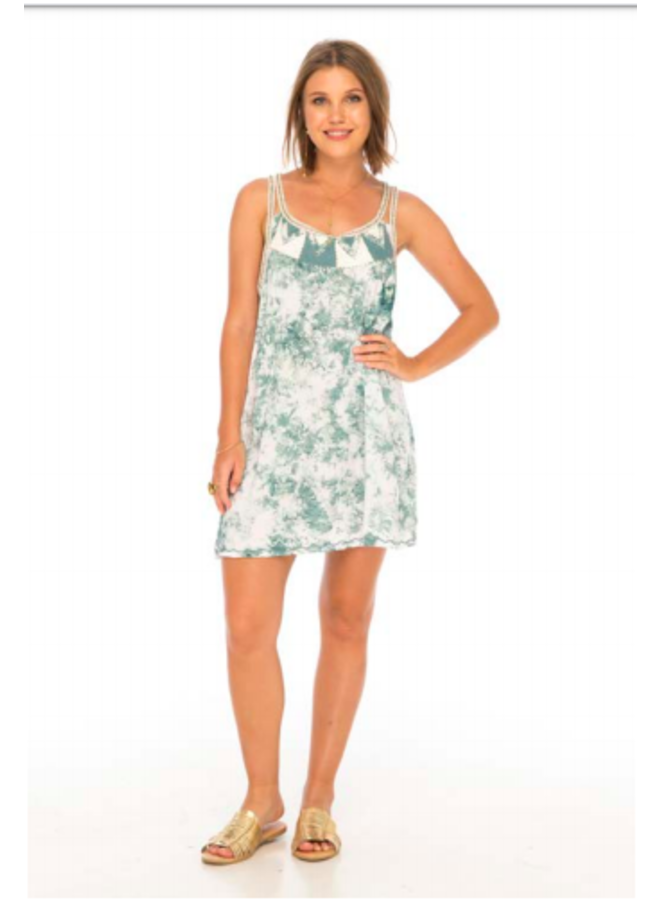 Tie Dye Dream Short Dress w/ Embroidery by Skemo - Sage Green