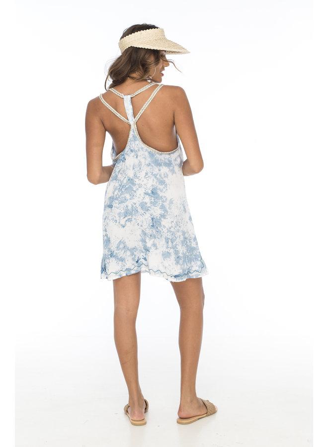 Tie Dye Dream Short Dress w/ Embroidery by Skemo - Light Blue