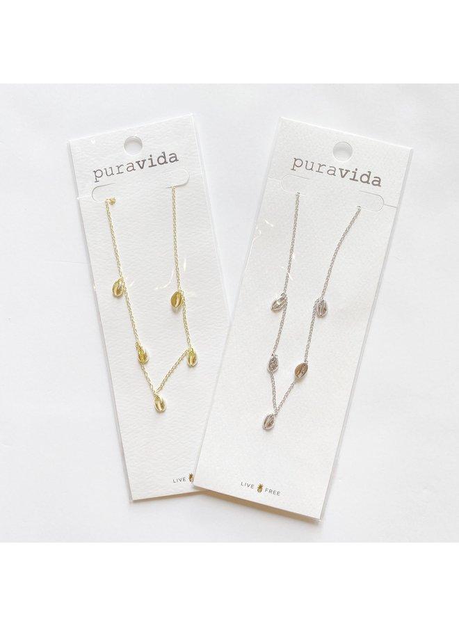 Pura Vida -  Silver Cowrie Choker Necklace