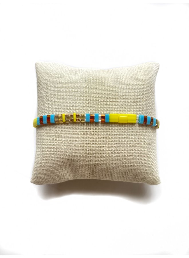 Stretchy Beaded Stripes Bracelet - Neon Yellow, Turquoise