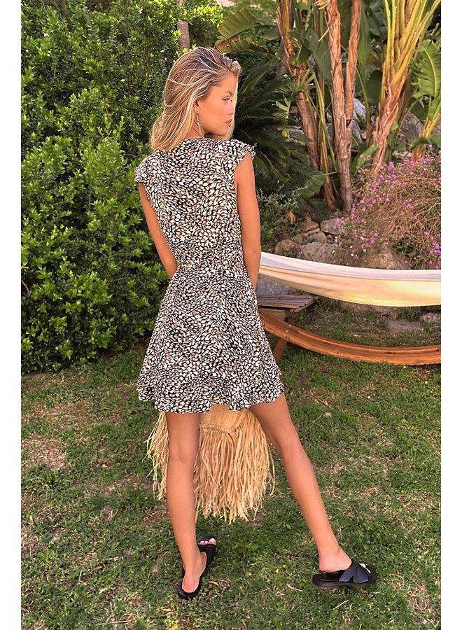French Quarter Mini Wrap Dress by Free People - Black/Brown