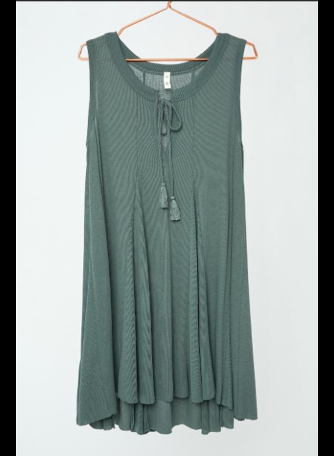 Knit Flare Short Dress w/ Tie by Wishlist - Dark Sage