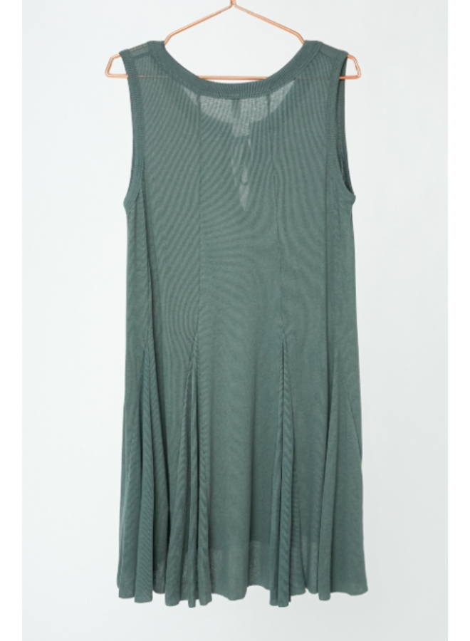 Knit Flare Dress w/ Tie by Wishlist - Dark Sage
