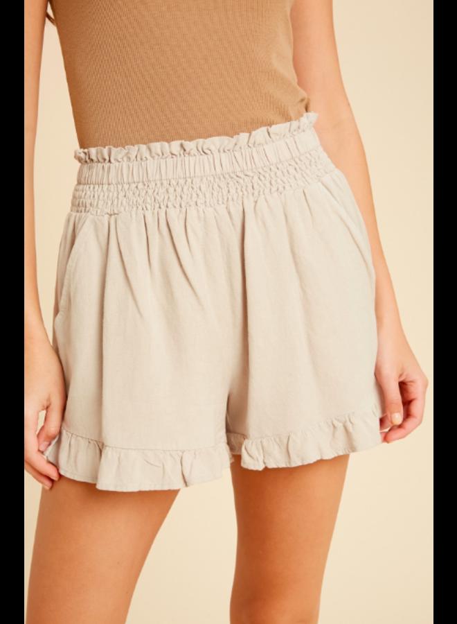 Linen Shorts Ruffle Bottom by Wishlist - Tan