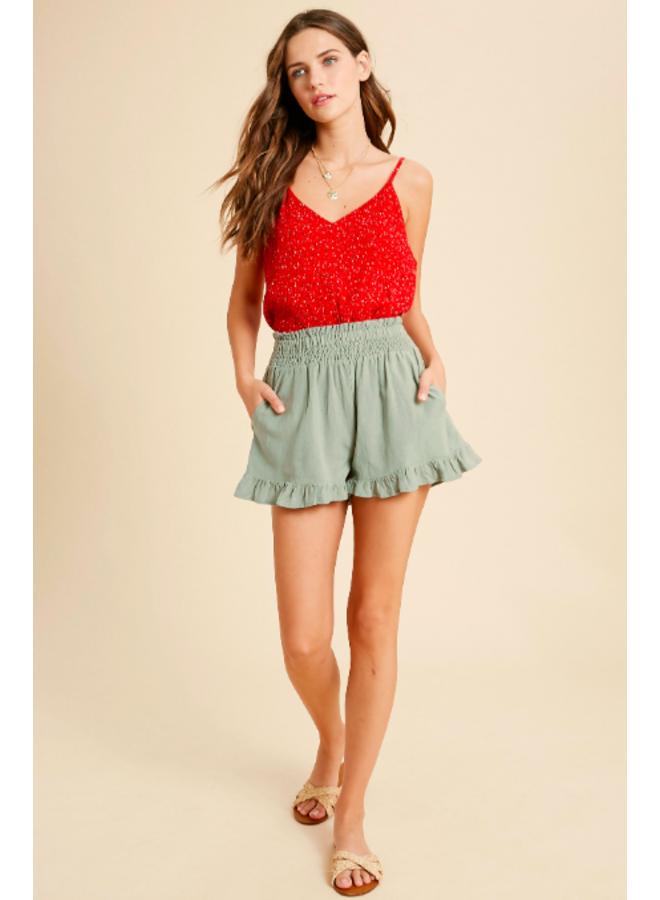 Linen Shorts Ruffle Bottom by Wishlist - Seafoam