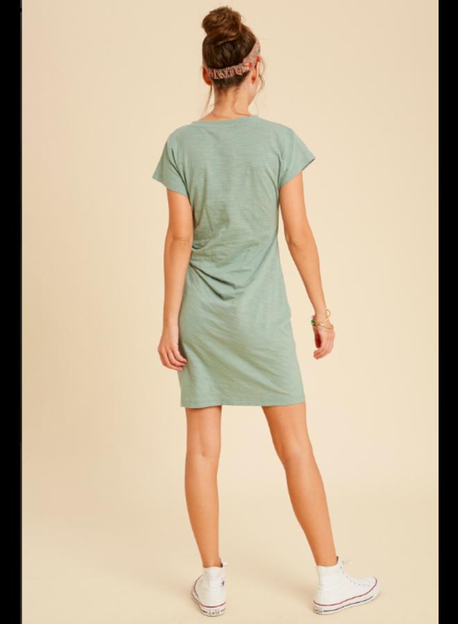 T Shirt Dress w/ Tie Side by Wishlist - Seafoam