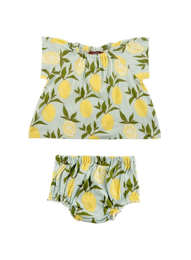 Organic Cotton Dress & Bloomer Set by Milkbarn- Lemon