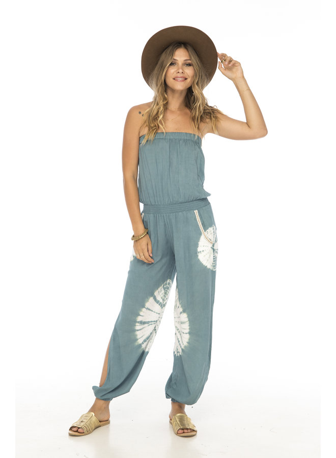 Tie Dye Strapless Jumpsuit by Skemo - Sage Green