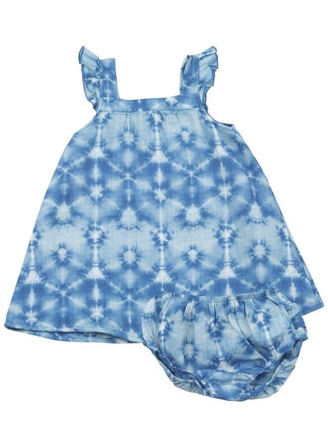 Blue Tie Dye Sundress w/ Bloomer Set