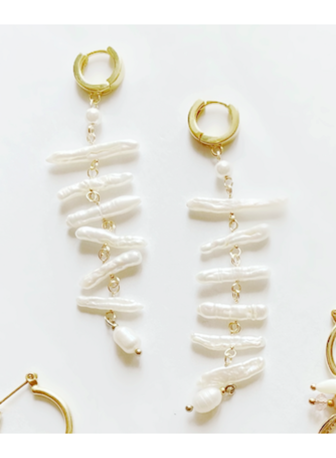 Dangling Stick Pearl Huggie Earrings