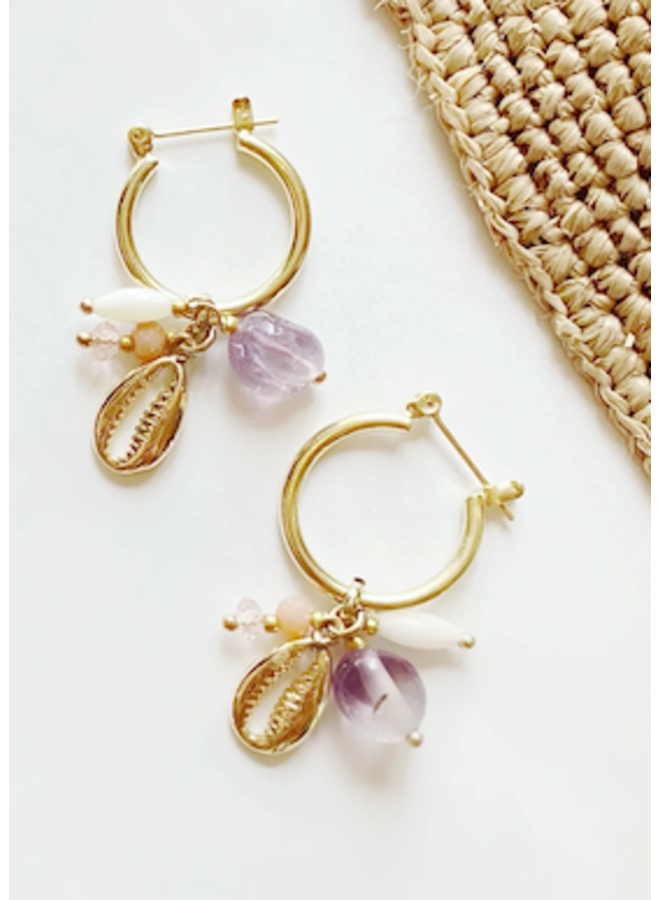 Gold Beaded Hoop Earrings w/ Cowrie  & Shell Charms